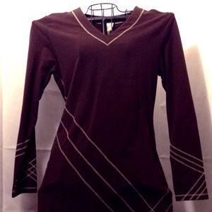 Chocolate Brown Mini Dress cream stitching NWT
